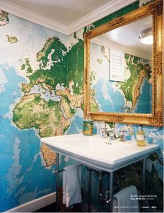16 best travel design images on pinterest home world maps and would love a map on the wall beside the bath map wallpaper in the bathroom learn world geography while youush your teeth gumiabroncs Gallery