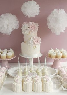 Pink and white dessert table. 'Pretty Romance' sweet table. Just gorgeous.