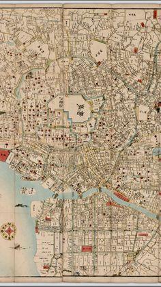Detail. 1864 Japanese Map of Edo (Tokyo). By Kikuya, Kōzaburō. University of British Columbia Library.