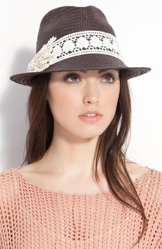 San Diego Hat Lace Bow Straw Fedora | Nordstrom