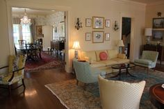 hilly's living room from The Help. love the framed birds above the couch!