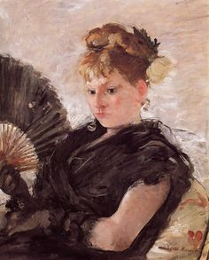 Berthe Morisot (1841 – 1895, French) - Woman with a Fan (aka Head of a Girl)