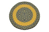 Williamsburg Blue, Yellow & Cream Block - Yellow Band Round Braided Rug This high-quality braided rug is made by American workers at our family-owned business in the North Carolina Mountains. It is made from Naturalized Olefin, which is a synthetic, polypropylene yarn that is extremely durable, yet soft enough for use indoors. It is color fast and washable. Visit www.stroudbraided... for more details