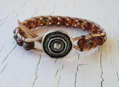 Leather Wrap Bracelet, Amber Orange Brown Fall Colors, Boho Chic, Bohemian Style, Fall fashion, Neutral Jewelry,. $32.00, via Etsy.