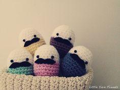 Lil' Moustache Easter Eggs! (free crochet pattern provided soon)