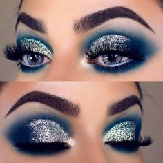 eye makeup Glitter eye makeup is all the rage this season. Combine it with various accents . Glitter eye makeup is all the rage this season. Combine it with various accents for a truly festive image. Get your inspo here. Eye Makeup Glitter, Blue Eye Makeup, Smokey Eye Makeup, Eyeshadow Makeup, Smoky Eye, Smokey Glitter Eye, Turquoise Eye Makeup, Blue Eyeshadow Looks, Sparkly Eyeshadow