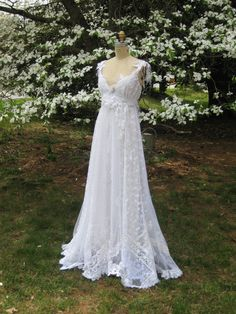Hippie Lace Collage Gown in White One of a Kind by hippiebride, $950.00