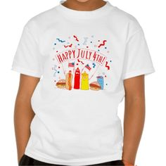 Happy July 4th Picnic Shirt For Kids and Adults at Zazzle.  More Products Offered With This Design > http://www.zazzle.com/foxxytees/gifts?cg=196915070311058335  #JulyFourth #July4 #Patriotic #Patriotism #USA #America #Picnic #Funny #Tshirts #Food #HotDog #Hamburger