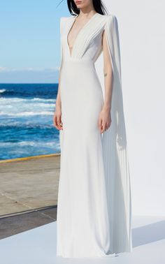Alex Perry Clemence V-Neck Long Sleeve Gown