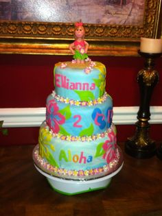 A luau birthday cake I made for my great niece turning two!!!