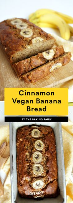 1. Vegan Cinnamon Banana Bread #greatist https://greatist.com/eat/easy-vegan-baked-goods-recipes