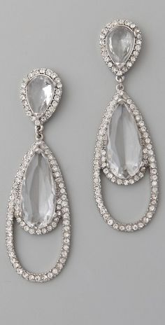 Kenneth Jay Lane                	              	            	  	            	  	                                        Tear Drop Earrings ~ Rhodium/Rhinestone