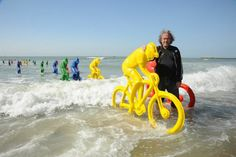 De Ontsnapping // The Escape. Art Installation by Erik Nagels for the 100th edition of the Tour the France. During high tide, the artwork gets completely covered by the ocean. Ostende, Belgium.