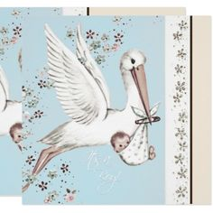 Vintage Blue Stork Baby Shower Card