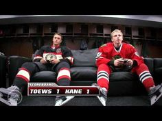 """Patrick Kane vs Jonathan Toews NHL 11 , Humorous advertising to spread awareness for the NHL 11 video game. """"Whose Team are You On?"""""""