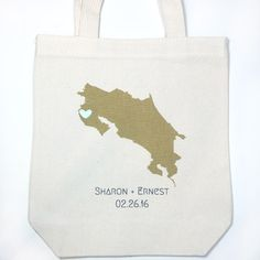 custom costa rica wedding totes. customize with names dates and colors. handmade, screen printed #costarica #destinationweddings #welcomebags