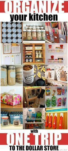 #Organize Your #Kitchen with One Trip to the Dollar Store! organization ideas (Diy Storage Dollar Stores)