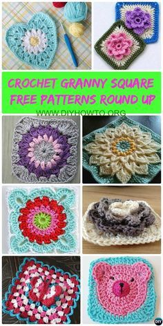 #Crochet Granny Square Free Patterns: Crochet Animal, Flower, Heart, 3D Granny Square with Free Patterns and video for beginner and seasoned crocheters.-->>http://www.diyhowto.org/crochet-granny-square-free-patterns/