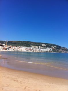 Sesimbra seen from a distant point of the beach