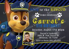 Paw Patrol First Birthday Invitations Party Invitation Cards