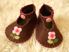 Chocolate Brown Baby Booties with Flowers  Felt by sweetemmajean, $32.00