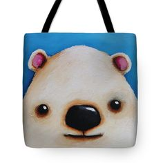 Whimsical Bear Painting Tote Bag featuring the painting The Polar Bear by Lucia Stewart