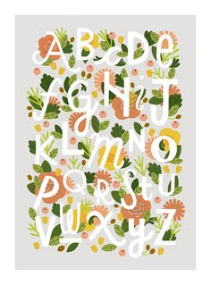 A3 Floral Alphabet print by watersounds on Etsy, $27.00