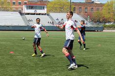 The Revs' U18 team warms up before their game against NYRB, April 20, 2013.