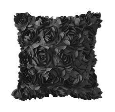 Fancy - Black Floral Embellished Square Pillow Cover