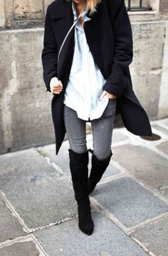 high-boots-3, over the knee boots, oxford, grey jeans, black coat, fall