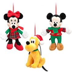 These would be cute on the tree / Mickey Mouse Plush Ornament Set - Holiday | Holiday | Plush | Disney Store