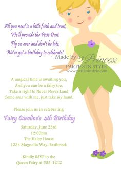 Birthday Invitation - Princess Series Tinkerbell - Printable