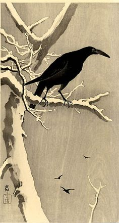Ohara Koson (1877-1945): Carrion Crow on Snowy Branch