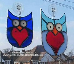 Heartley & Hearthur, stained glass 'owls in residence' at Heartlands Glass, Birmingham UK. £15 & £22.50 inc postage in the UK :-)