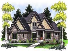 Here's a home (plan with all kinds of great surprises. First, check out the cute balcony on the exterior, along with the pretty stone, oval window, and grand columns. Then click through to see the incredible master suite on the layout. European House Plans, Craftsman Style House Plans, Country House Plans, European Plan, Cottage Design, House Design, German Houses, Monster House Plans, Traditional House Plans