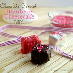 Chocolate Covered Strawberry Cheesecake Bites Recipe - RecipeChart.com #Dessert #ValentinesDay