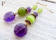 Amethyst and green quartz earrings, purple gemstone earrings, dangle earrings, fashion jewelry, women jewelry, gift for her - Wedding earings (*Amazon Partner-Link)