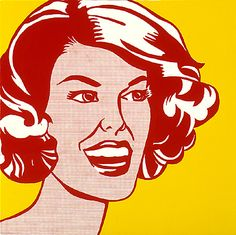 Roy Lichtenstein - Head - Red and Yellow , 1962.  Pop art (Portrait),   Oil on canvas, 121.9 cm x 121.9 cm  Albright Knox Art Gallery, Buffalo, NY, USA.