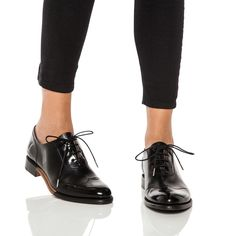Black Italian leather wingtip oxford with hand-painted toe cap and heel. Calfskin lining and natural cork insole Heel height: Goodyear welted Made in P. Oxford Shoes Outfit, Women Oxford Shoes, Shoes Women, Casual Oxford Shoes, Women Sandals, Black Oxfords, Black Shoes, Wingtip Shoes, Outfits