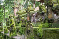 Monkey Climbs statues at Sacred Monkey Forest Ubud Indonesia