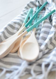 DIY these wooden spoons to brighten up your kitchen.