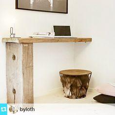 #ShareIG Man kan ikke andet end at blive forelsket i @byloth 's flotte designs ❤ ・・・ Lovely Office-corner from By Loth #office#officetable#rusticoffice#nordiskehem#nordiskehjem#nordiskinterior#indretning#byløth#byloth#bolværk#rusticwood#danishdesign#designerhjem#homeoffice#homedesign#homeinterior #enaena #loveit #wood Standing Desk, Desk, Furniture, Interior, Home Decor