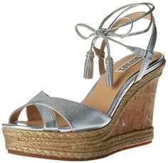 786a2f7f425e Badgley Mischka Womens Cece Espadrille Wedge Sandal Silver 85 M US     You  can