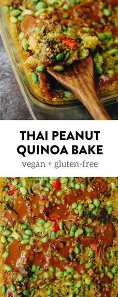 A quick and easy one-pan meal, this Thai Peanut Quinoa Bake makes a flavorful vegetarian dinner recipe for the whole family. Topped with a zesty peanut sauce, your weekday dinners are officially complete!  #vegan #glutenfree #onepan #quinoabake