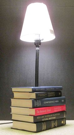 custom table lamp lamp made of books book decor book lamp desk lamp stack of books custom lamp book lover gift unique lamp