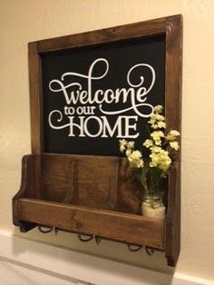 Entryway. Diy key holder. mail holder. Welcome sign. Diy Woodworking project. Popular with the Poplins