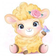 Cute little sheep with watercolor illust... | Premium Vector #Freepik #vector #flower Baby Animal Drawings, Cartoon Drawings, Cute Drawings, Drawing Sites, Theme Mickey, Baby Animals, Cute Animals, Eid Crafts, Cartoon Wallpaper