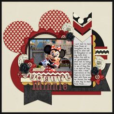 Kisses From Minnie - MouseScrappers - Disney Scrapbooking Gallery Disney Scrapbook Pages, Scrapbook Sketches, Scrapbook Page Layouts, Scrapbook Paper Crafts, Scrapbook Cards, Scrapbook Photos, Disney Crafts, Disney Fun, Disney Style