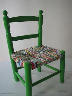 Renovar una silla con tela. En nuestro blog telasyconfeccion.wordpress.com.