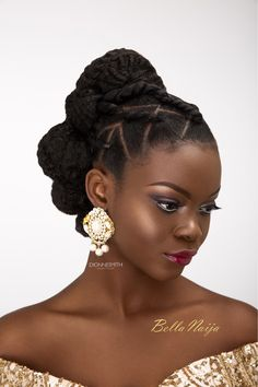 BN Bridal Beauty: International Bridal Hair Specialist, Dionne Smith presents Elegant Evening Bridal Hair Inspiration with a Twist! Wedding Hairstyles For Girls, Natural Hair Updo, Braided Hairstyles For Wedding, Short Wedding Hair, Natural Hair Styles, Short Hair Styles, Braided Updo, Chignon Wedding, Natural Updo Hairstyles